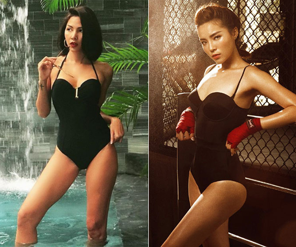Đến cả đồ tắm hai người đẹp từng mặc cũng chung một mẫu.