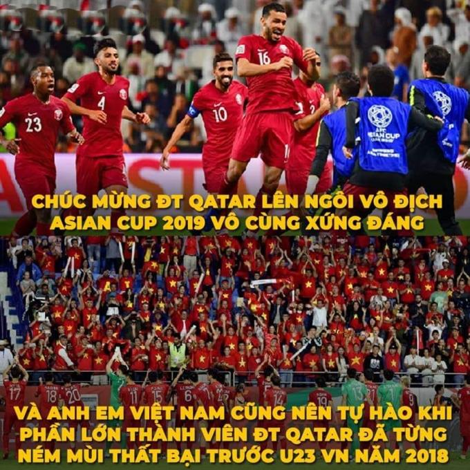 """<p> CĐV Việt Nam chúc mừng đại diện Tây Á nhưng không quên nhắc lại thất bại của Qatar trước """"Rồng Vàng"""" năm nào.</p>"""