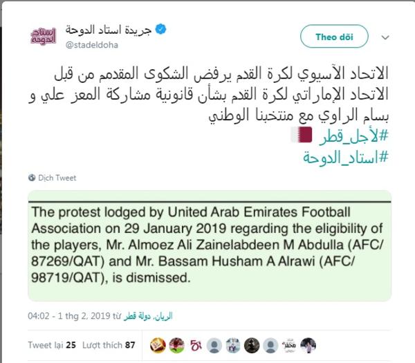 Truyền thông Qatar dẫn lạiquyết định bác bỏ đơn kiện từ AFC.
