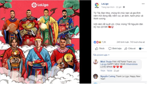 Trang chủ La Liga gửi lời chúc năm mới đến NHM Việt Nam bằng tiếng Việt.