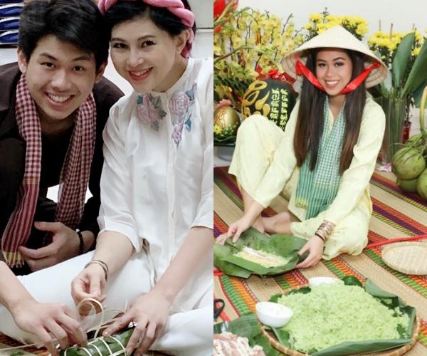 Thảo Tiên - Hiếu Nguyễn gói bánh ngày Tết.