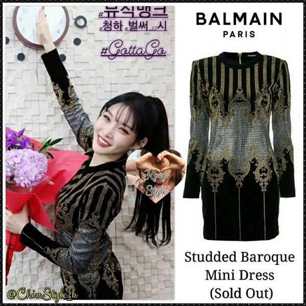 Có vẻ như stylist của Chung Ha là một tín đồ của Balmain khi cho cô nàng khoác lên bộ váy tinh xảo của hãng, chiếc váy này hiện đang được nhiều cô gái yêu thích, sẵn sàng săn đón đến nỗi hết sạch.