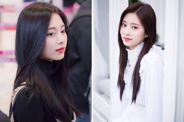 Min Joo (phải) của nhóm IZONE cũng gây chú ý nhờ diện mạo tương đồng với Tzuyu (Twice). Hai nữ idol có những khoảnh khắc giống nhau đến khó tin.