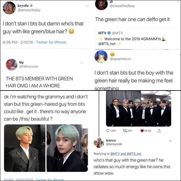 Ngay sau khi BTS xuất hiện tại thảm đỏ, những từ khóa liên quan đến nhóm liên tục leo top trend Twitter. Trong đó,V với mái tóc xanh nổi bật đãtạo nên cơn sốt đối với netizen quốc tế.