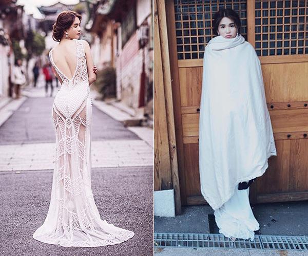 Ngọc Trinh chịu khó mặc đầm xuyên thấu, khoe lưng trần nóng bỏng bất chấp thời tiết âm độ ở Hàn Quốc. Rời set chụp, chân dài ngay lập tức phải trùm chăn ủ ấm.