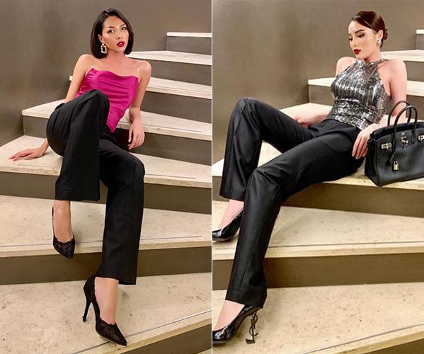 Kỳ Duyên được cho là ngày càng chịu ảnh hưởng phong cách menswear từ Minh Triệu khá rõ rệt. Không chỉ mặc chung đồ, cả hai còn thường xuyên tạo dáng cùng kiểu.