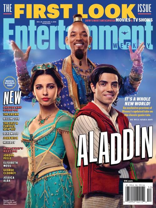 Tạo hình các nhân vật chính của Aladdin và thần đèn Will Smith trước đây trên tạp chí Entertainment.