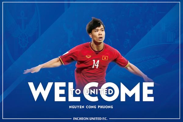 Incheon United chào mừng Công Phượng gia nhập.