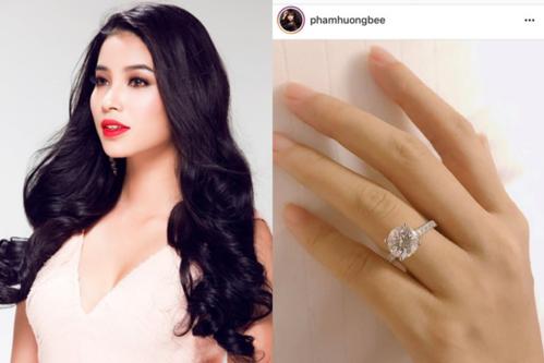 Phạm Hương cũng được bạn trai tặng nhẫn kim cương, xác nhận chính thức đính hôn ở tuổi 28.