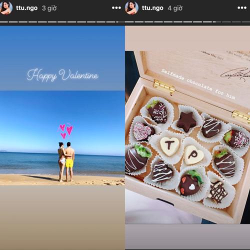 Á hậu Thanh Tú và chồng đón Valentine trên biển. Cô được chồng tặng hộp chocolate, trong đó có hai thỏi in dòng chữ T và P (tên viết tắt của cô và ông xã).
