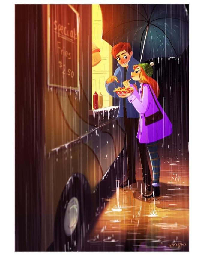 <p> Là cùng nhau thưởng thức một bữa ăn khuya dưới trời mưa tầm tã.</p>
