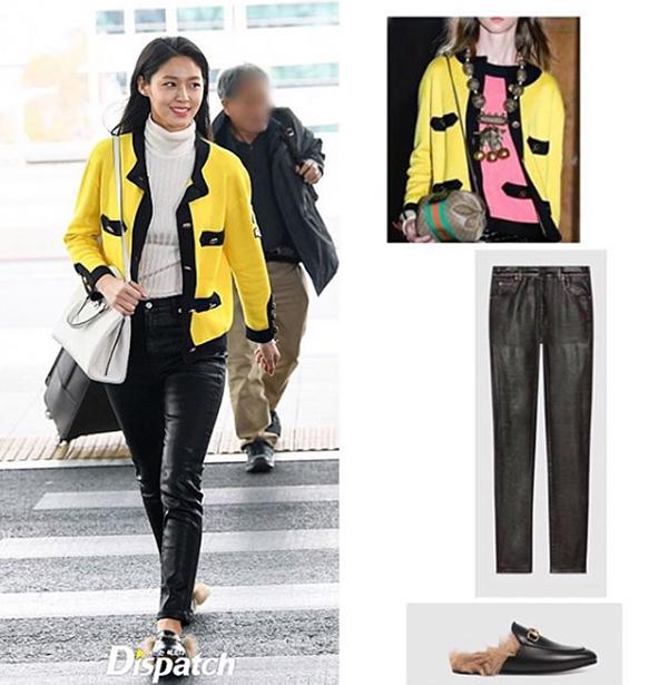Cả bộ cánh mà Seol Hyun diện trên người đều đến từ nhà mốt Gucci. Chiếc áo khoác nằm trong BST Xuân Hè 2019 được cô nàng kết hợp cùng quần có giá khoảng 27 triệu đồng, giày loafer giá khoảng 25 triệu đồng. Chiếc túi cô nàng đang đep cũng của cùng thương hiệu.