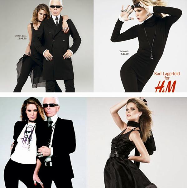 Đế chế hùng mạnh của Karl Lagerfeld còn được đánh dấu bằng BST kết hợp cùng H&M. Đây là lần đầu tiên một ông lớn thời trang bắt tay với nhà bán lẻ Thụy Điển để tạo ra những mẫu trang phục cao cấp có giá thành bình dân. Rất nhanh chóng, BST Lagerfeld x H&M hết hàng sạch sẽ, tạo tiền đề cho thương hiệu này tiếp tục cho ra mắt những bộ sưu tập kết hợp cùng những nhà mốt cao cấp hàng năm. Nổi tiếng nhất trong các mẫu phải kể đến chiếc áo phông in chính hình bố già với mái tóc bạc trắng, cặp kính râm đặc trưng.