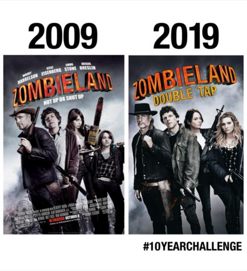 Dàn diễn viên Zombieland nhá hàng phần 2 Zombieland: Double Tap theo phong cách thử thách 10 năm.