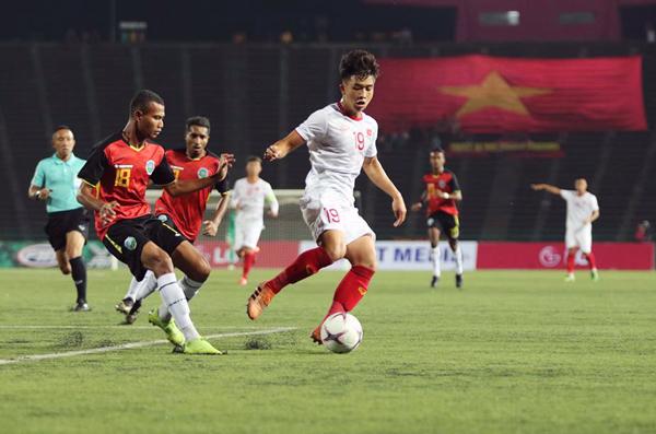 Trần Danh Trung cầu thủ thi đấu xuất sắc trên hàng công của U22 Việt Nam.