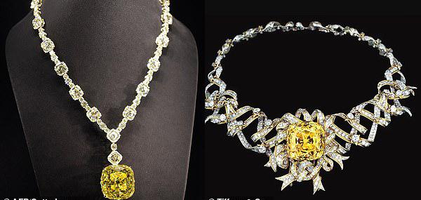 Chiếc vòng cổ của Lady Gaga (trái) và của Audrey Hepburn với viên kim cương Tiffany màu vàng lấp lánh.