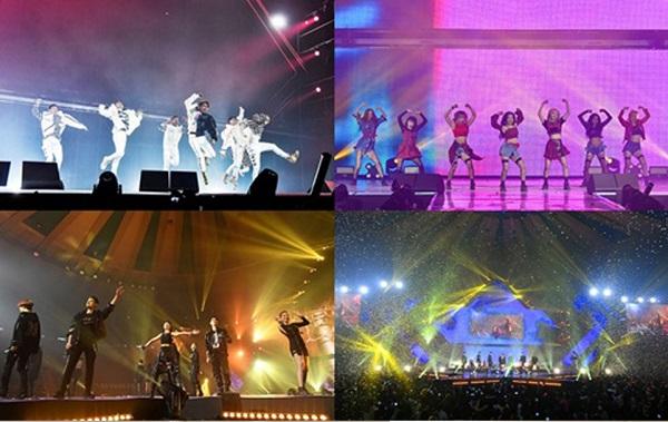 Hai nhóm nhạc cống hiến cho khán giả tại sân vận động những màn trình diễn sống động.