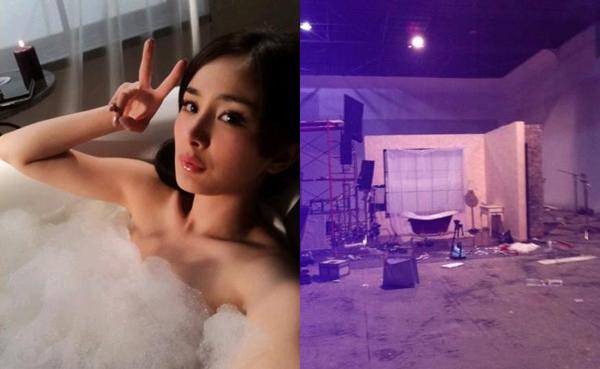 Chẳng ai ngờ bức ảnh trong bồn tắm đầy quyến rũ của Dương Mịch lại được   chụp trong một nhà kho trống hoác cũ kỹ, được dựng hai tấm phông làm tường   và bố trí như trong một nhà tắm thực thụ.
