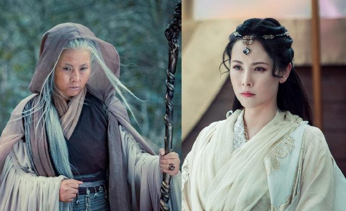 <p> Nhân vật Kim Hoa bà bà do Dương Minh Na đóng vốn xuất hiện với vẻ già nua xấu xí. Thực chất đây chỉ là lớp hóa trang để che giấu thân phận thật là Đại Ỷ Ty - thánh nữ của Minh giáo Ba Tư. Nữ diễn viên sinh năm 1976 gây bất ngờ bởi nhan sắc chẳng kém cạnh các đàn em.</p>
