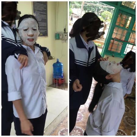 Học hành vất vả, bận đến mấy thì cũng không thể quên đắp mặt nạ.