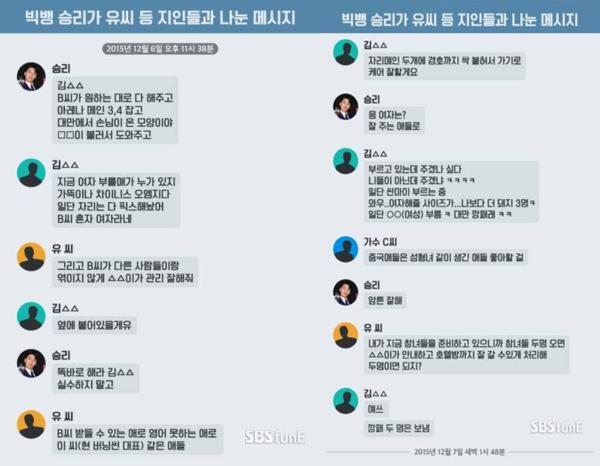 Tin nhắn chứng minh Seung Ri liên quan đến việc môi giới gái gọi.