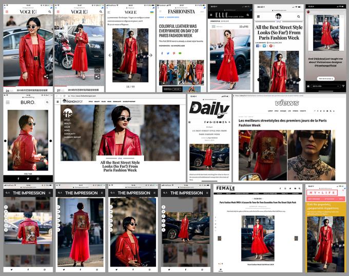 <p> Cô còn được xuất hiện trên trang chủ của hai kênh thông tin thời trang uy tín bậc nhất là Fashionista và The Fashion Spot cùng hàng loạt trang lớn nhỏ khác.</p>