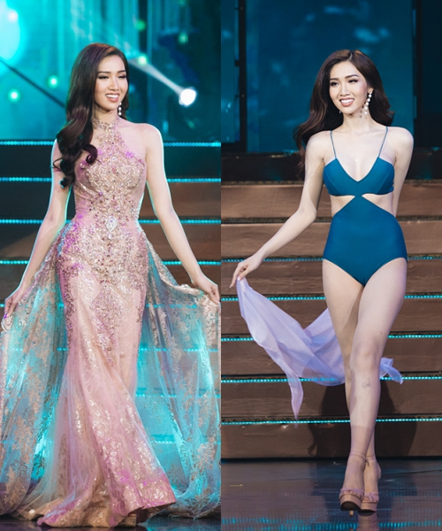 Nhật Hà trong vòng thi trang phục dạ hội và áo tắm.