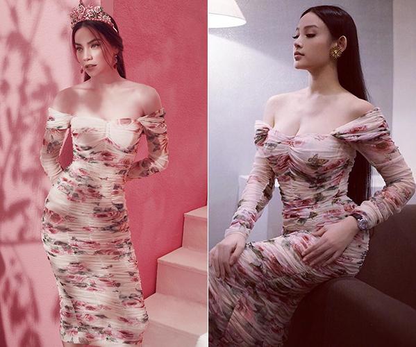 Vẻ đẹp sang chảnh và quyến rũ là điều giúp Hà Hồ - Huyền Baby đều có thể chinh phục được bộ đầm hàng hiệu khá kén dáng.