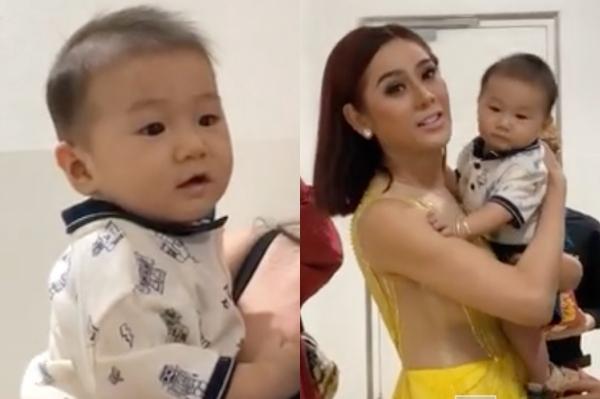 Lâm Khánh Chi đưa con trai dự sự kiện showbiz.