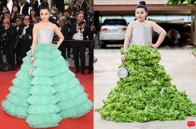 """<p> Nữ diễn viên Phạm Băng Băng lộng lẫy, thu hút trên thảm đỏ với bộ váy xếp tầng cầu kỳ. Nay nó được Sine ''chế biến"""" lại bằng rau xà lách. Cô còn thay chiếc clutch sành điệu của diễn viên họ Phạm bằng một chiếc nồi.</p>"""