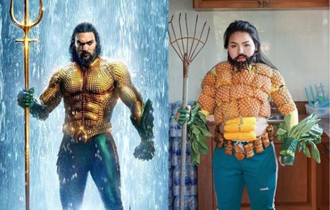 <p> Nhân vật Aquaman được Sine cosplay bằng quả dứa, ngô, bánh, rau chân vịt...</p>