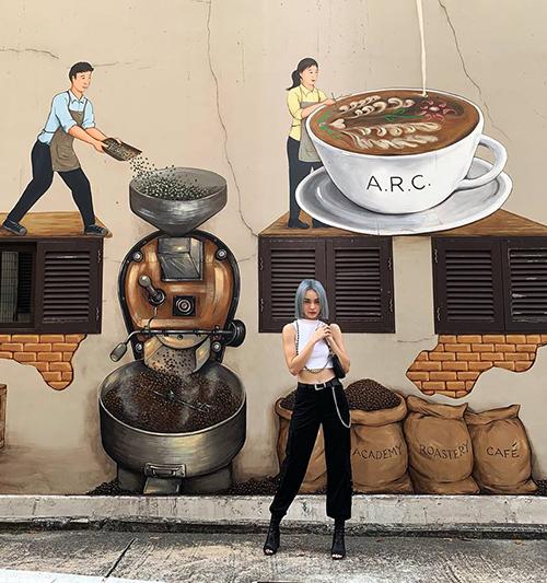 MLee thích thú chụp hình với những bức tường bích họa ở Singapore.