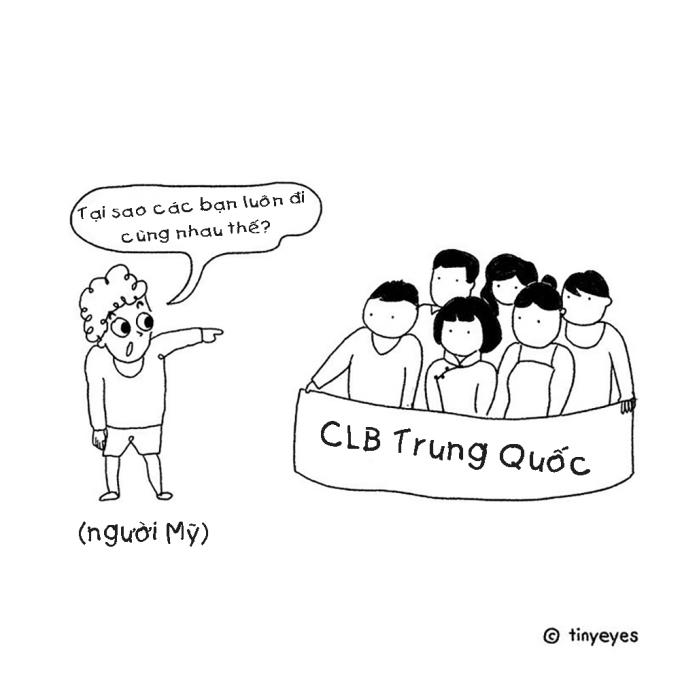 <p> Khi đi du học, người Trung Quốc thường tập hợp thành một nhóm đông và chơi riêng với nhau, thay vì chơi riêng rẽ.</p>