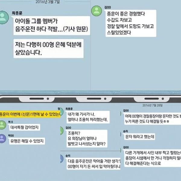 Ảnh mô phỏng cuộc trò chuyện trong group chat ngày 7/3/2016. Lúc này, Seung Ri, Jung Joon Young,...đang bàn vềvụ tai nạn do say rượu của Jong Hoon được một cảnh sát trưởng giải quyết.