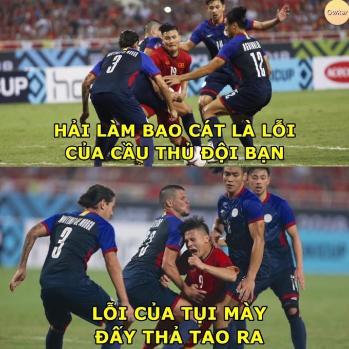 """<p> Khoảnh khắc một mình chống lại 4 cầu thủ Philippines của Quang Hải gây ấn tượng mạnh với người hâm mộ. Hải """"Con"""" đúng là điển hình cho câu nói """"nhỏ mà có võ"""".</p>"""