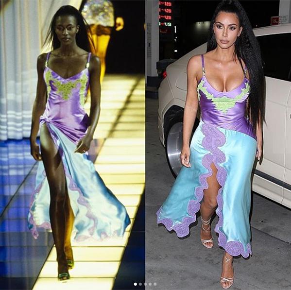 Vẫn trung thành với phong cách hở bạo nhưng thời gian gần đây, Kim Kardashian thường tìm đến những thiết kế từ hàng chục năm trước của các nhà mốt danh tiếng. Điều này được nhiều người ủng hộ vì siêu vòng ba đã giúp làm sống lại nhiều trang phục bị lãng quên từ lâu. Tuy nhiên nhiều tín đồ thời trang cũng phát hiện diện mạo của bà xã Kanye West gần đây có sự sao chép từ phong cách của Naomi Campbell - siêu mẫu đình đám của sàn diễn 20 năm trước.