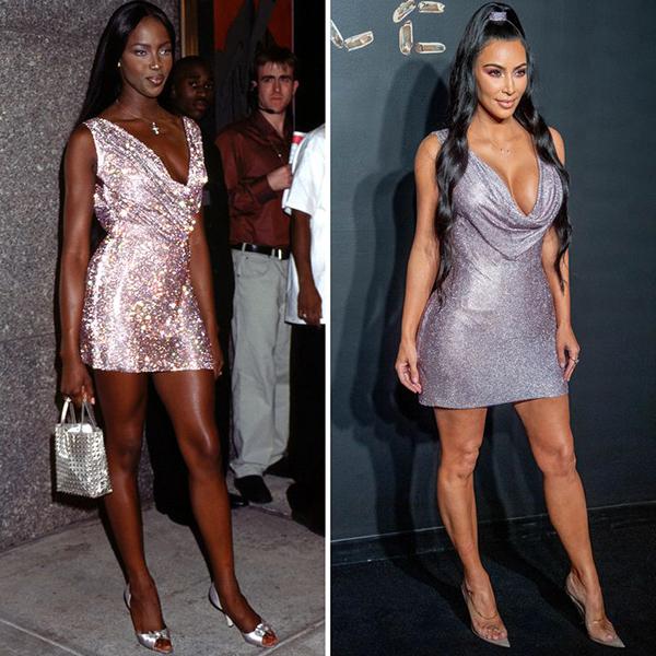 Nếu không cùng một bộ váy thì cũng có kiểu dáng tương tự. Phong cách của Kim được cho là chịu ảnh hưởng rõ rệt từ style cổ điển của đàn chị.