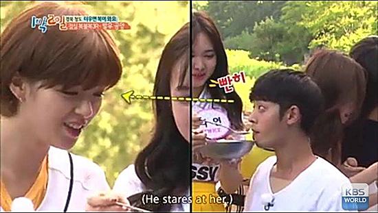 Twice từng đến làm khách mới cho show 2 Days 1 Night và Jung Joon Young là thành viên chính thức của chương trình. Khi Jeong Yeon đút cho anh chàng ăn trong trò chơi, Joon Young đã nhìn chằm chằm với ánh mặt lạ. Người hâm mộ cảm thấy rợn người khi
