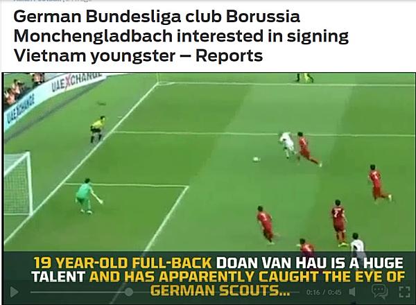 Fox Sports đưa tin về Văn Hậu được CLB của Đức để mắt.