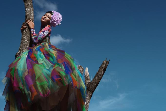 <p> Người đẹp còn chịu khó trèo lên cây, tạo dáng giữa trời xanh thăm thẳm. Đây cũng là một thách thức với H'Hen Niê trong bộ ảnh đặc biệt này.</p>