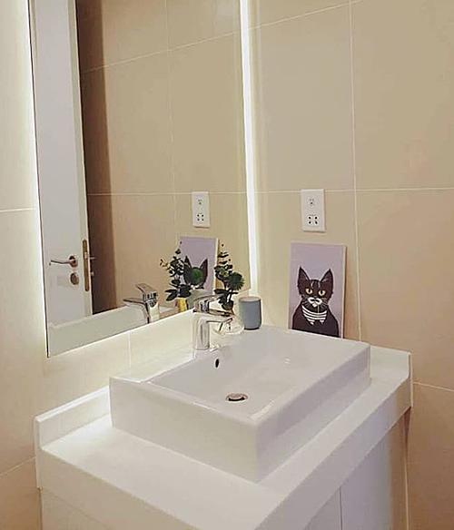 Những bức tranh hình mèo được trang trí ở cả phòng tắm.
