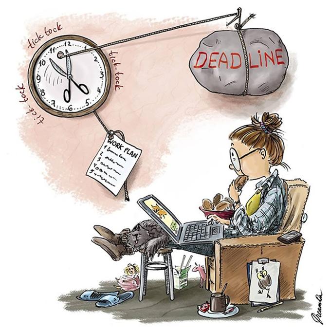 """<p> Deadline sát nút nhưng các cô nàng vẫn """"bình chân như vại"""".</p>"""