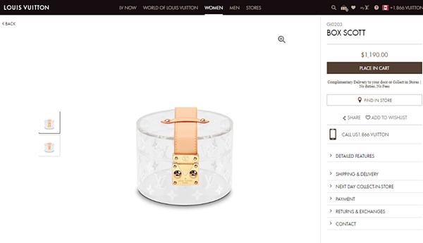 Giá chiếc túi xách trên trang bán hàng của Louis Vuitton.