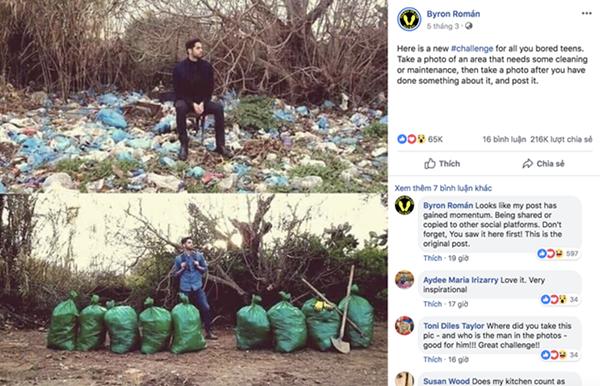Byron Roman chia sẻ bức ảnh dọn rác của một chàng trai và giúp lan tỏa thông điệp tích cực.