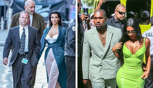 Kim Kardashian luôn đi cùng 3 vệ sĩ, chồng cô - Kanye West - cũng được các vệ sĩ vây kín. Thậm chí khi cặp đôi đi tản bộ, sẽ có một chiếc xe chống đạn chạy theo đảm bảo an toàn cho vợ chồng Kim. Họ đã tiêu tốn 1,5 triệu USD hàng năm cho chi phí thuê vệ sĩ.