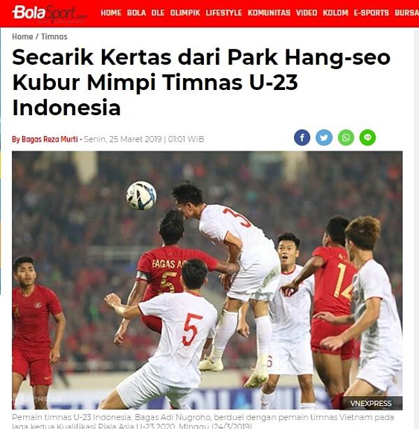 Bola Sport đưa tin về trận thua của U23 Indonesia trước U23 Việt Nam.