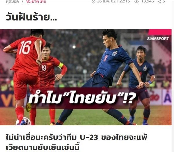 Tờ Siam Sport của Thái Lan đăng tải bài viết sau trận đấu.