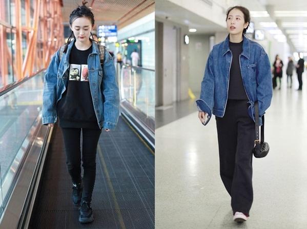 Hà Hoằng San (trái) và Châu Vũ Đồng có style năng động khi cùng chọn áo khoác denim màu lam đậm mix áo hoodie màu đen, quần cũng màu đen.