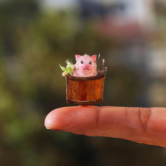 <p> Tác phẩm chú lợn màu hồng dễ thương được Nayan và Vaishali thực hiện nhân dịp Tết Kỷ Hợi 2019.</p>