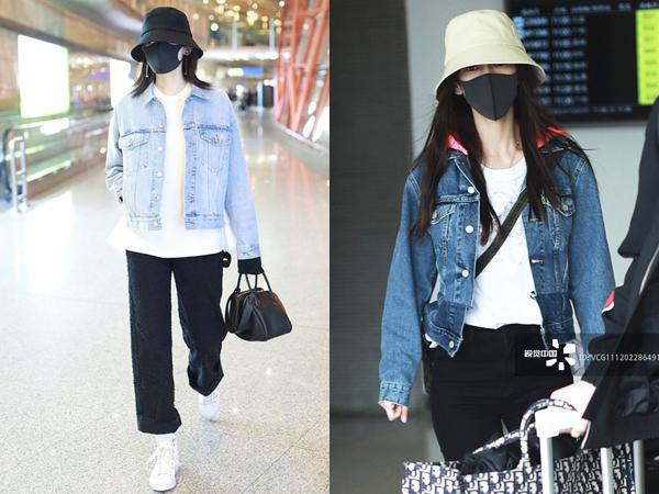Angelababy (phải) và Cổ Lực Na Trát chọn cách mix đồ khá giống nhau khi cùng diện kiểu áo khoác ngắn gọn gàng.